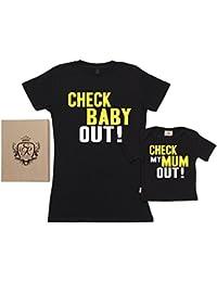 SR - Check My Mum & Baby Out - conjunto de regalo para madres y bebés - En caja de regalo - madre camiseta & bebé camiseta