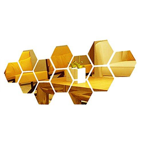 Oro pegatinas de pared hexagonal casa 3d combinación DIY del arte del modelo de acrílico para vivir...