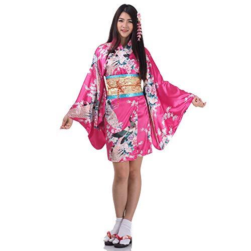 Sushi Kostüm Sexy - Princess of Asia Kimono Damen Negligee Kleid Cosplay Lolita Minikleid Senbazuru Pink Satin One Size