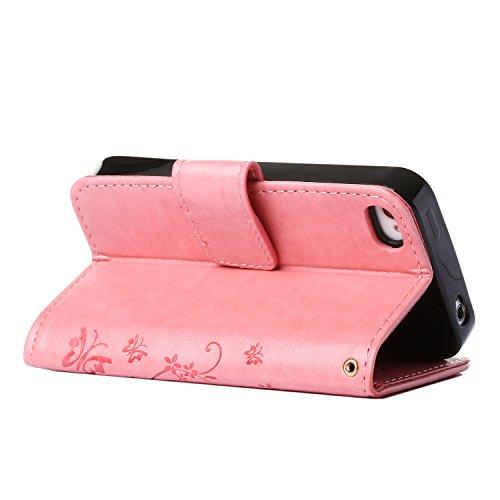 MOONCASE iPhone 4S Hülle Blume Premium PU Leder Schutzhülle für iPhone 4 4S Bookstyle Tasche Schale TPU Case mit Standfunktion Teal -Rosa