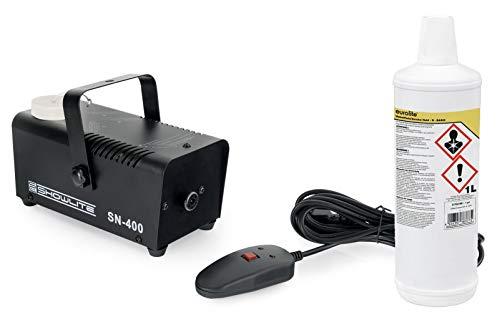 Showlite SN-400 Nebelmaschine 400W mit Fernbedienung und 1L Nebelfluid (Nur 3 Minuten Aufwärmzeit, 40m³/min Nebelausstoß, 3,5m Sprühdistanz, 1L Nebelflüssigkeit inklusive) schwarz
