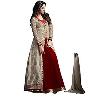 Active Banglori Silk Fabric Embroidery Indo Western Dress Material For Women ( Red )