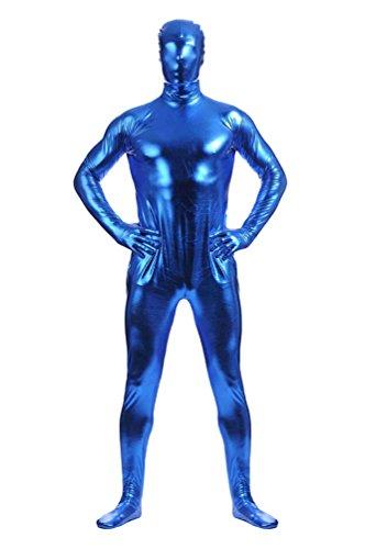 CHENGYANG Zweite Haut Ganzkörperkostüm Für Herren Mit Rücken Reißverschluss Catsuit Zentai Dunkelblau (Erwachsene Kostüme Für Haut Herren Blau Zweite)