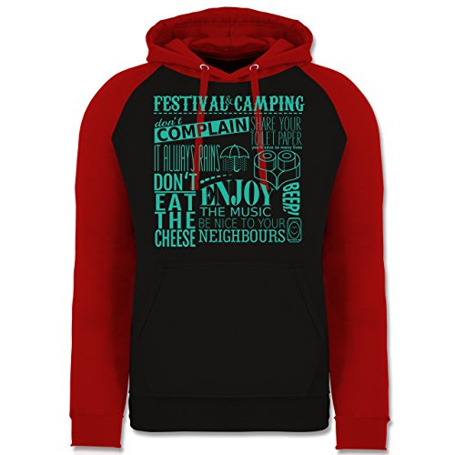 Shirtracer Festival - Festival Camping Lettering - XXL - Schwarz/Rot - JH009 - Baseball Hoodie