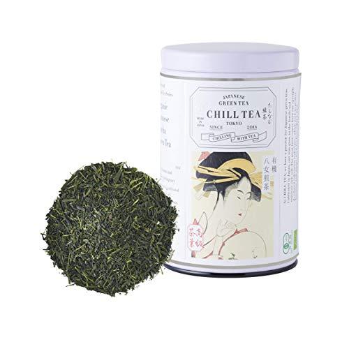 Organic Japanese Sencha Green Tea by CHILL TEA Tokyo - 100% Japanese Loose Leaf Sencha Green Tea - First Flush -Vegetarian Non GMO Tea -Rich in Vitamins, Fiber & Amino Acids - Mellow Flavor - 80g