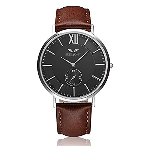 Bermont Masters Edition 40IMM Men's Quartz Luxury Watch with Black Dial Analogue Display and Leather Strap - Classic Elegant Design - Dress Watch - Waterproof Wristwatch with Stainless Steel Case.