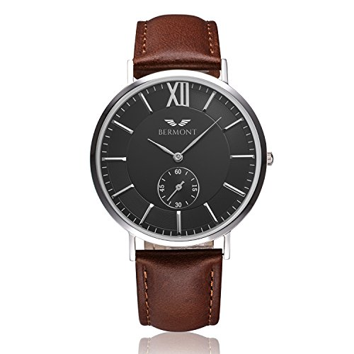 Bermont-Masters-Edition-40IMM-Mens-Quartz-Luxury-Watch-with-Black-Dial-Analogue-Display-and-Leather-Strap-Classic-Elegant-Design-Dress-Watch-Waterproof-Wristwatch-with-Stainless-Steel-Case