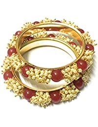 OranGey Fashion - Beautiful Bangle 1gm Gram Gold Plated Designer Bangles With Beautiful Red Pearl For Women &...