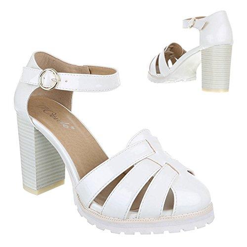 Damen Schuhe, 1905-5, PUMPS HIGH HEELS RIEMCHEN Weiß
