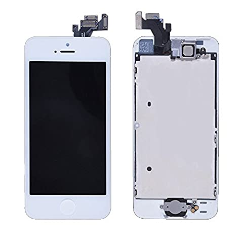 LL Trader Kit de remplacement écran pour iPhone 5 Blanc LCD tactile pour plaque pièces pour appareil photo bouton Home Cable de capteur pré-assemblés outils