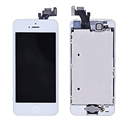 LL TRADER For iPhone 5 LCD White Full Display Assembly Touch Screen Replacement Digitizer with Front Camera, Home Button, Sensor Cable Pre-assembled + All Required Tools