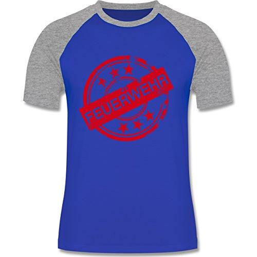 Feuerwehr - Badge Vintage Feuerwehr - zweifarbiges Baseballshirt für Männer Royalblau/Grau meliert