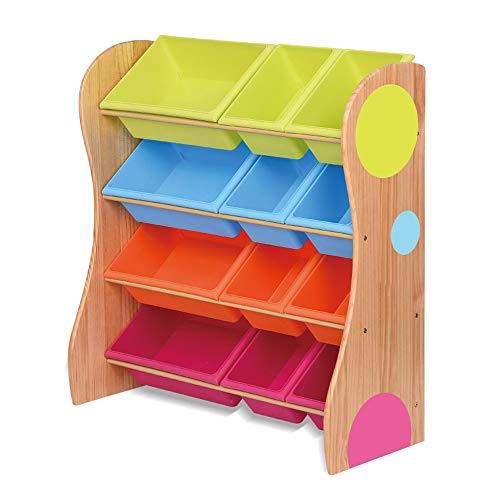 Baoffs Spielzeug- und Bücherregal Spielzeug-Speicher-Organisator mit Farbplastikbehälter-Fach-Fach für Kinder Schlafzimmer-Spielzimmer Aufbewahrungseinheit für Kinder Kinderzimmer -