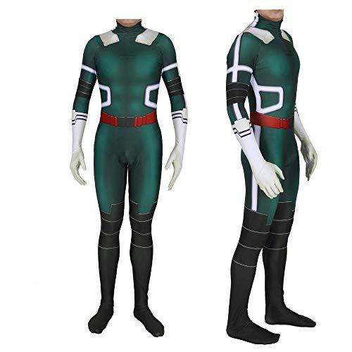 werty Cosplay Kleidung Mein Held College Deku Green Valley Cosplay Kostüm Lycra Anime Kostüm Spiel Weihnachten Halloween Kostüm Für Erwachsene Tragen Green-M (Für College Halloween-kostüme)