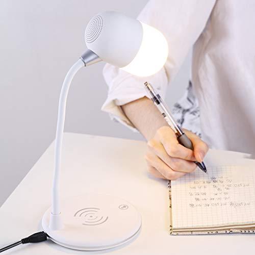 Bearbelly 3 in 1 LED Bluetooth Lautsprecher Drahtloses Ladegerät Kompatibel mit iPhone/Samsung usw. QI-fähiges Gerät Tragbares drahtloses Ladegerät Halter Ladestation Bluetooth-Audiolampe (Weiß)