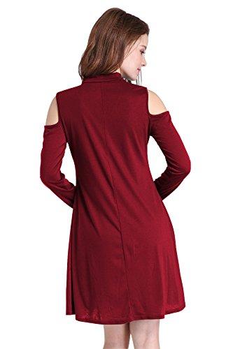 MELANSAY - Abito - Decollette - Maniche lunghe  - donna Wein-Rot