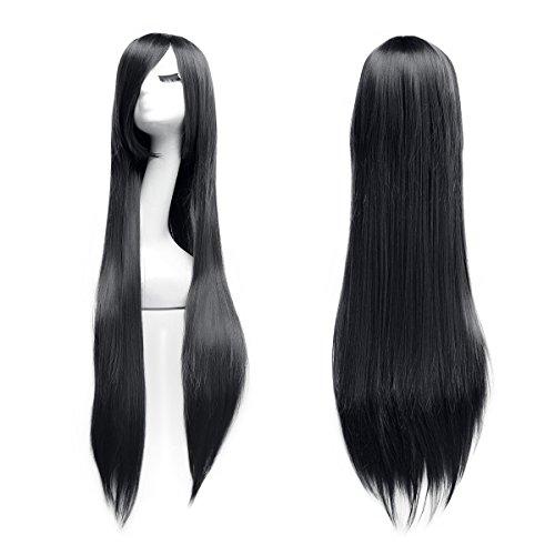 100cm Cosplay Lange Gerade Perücke Voll Wig (Schwarz) (Schwarze Stil Haare Perücken)