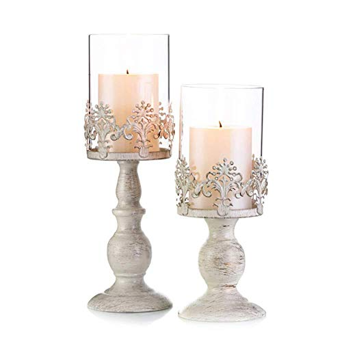 Depory Juego de 2 Portavelas Regalos y Decoración Velas de Candelita de Cristal Candelabros para Decoración del romántica de la Boda Plata(Pequeño + Grande)