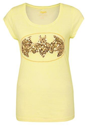 Sublevel Damen T-Shirt mit Pailetten und Batman Logo | Frauen Comic Shirts kurz mit Rundhals Ausschnitt | Logo Print Yellow S