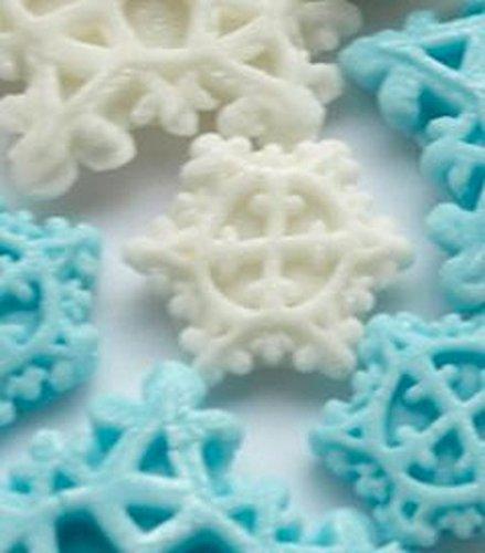 Cupcake Topper-Frozen Kuchendekoration, Fondant Dekorationen, Winter Baby Dusche Bridal, Winter Wonderland Hochzeit Kuchen blau, weiß/blau, Small Snowflakes - White ()
