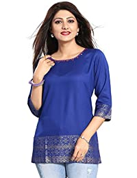 Dragaon Rich Look Blue Rayon Cotton 3/4 Sleeve Short Kurti For Girls