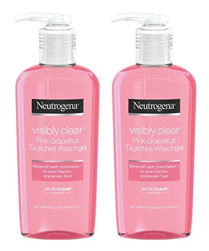 empfindliche mischhaut mit unreinheiten Neutrogena Visibly Clear Pink Grapefruit Tägliches Waschgel – Erfrischendes Reinigungsgel gegen Hautunreinheiten und Pickel im Gesicht mit Grapefruit Duft – 2 x 200ml