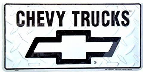 Chevrolet Chevy Trucks Silver Embossed Diamond Novelty Vanity Metal License Plate Tag Sign 2457 by Pride Plates