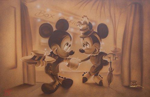 """Disney Mickey Minnie Mouse """"Date Night"""" Original Limited Edition Peinture acrylique sur toile par Noah # 293/400"""