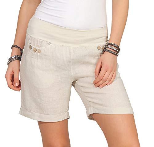 Leinenshorts Bermuda lockere Kurze Hose Freizeithose 100% Leinen Shorts mit DREI Knöpfen Sommer Strand Beige XXL ()