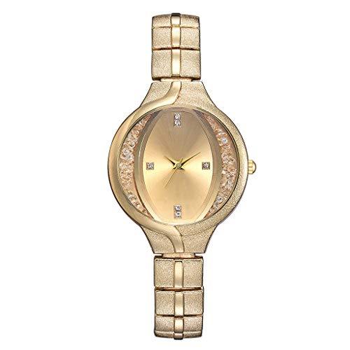 Preisvergleich Produktbild Tohole Frauen Edelstahl Armband Band Analog Quarz Runde Armbanduhr Uhren Legierungs Quarz Uhr der Frauen armbanduhr herren fossil damenuhr sportuhr(B, One size)