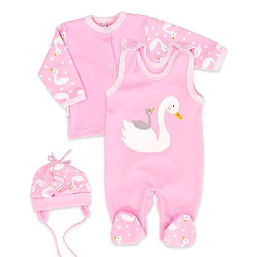 Strampler + Shirt + Mütze Mädchen rosa | Motiv: Schwan | Babyset 3 Teile für Neugeborene & Kleinkinder | Größe: 6 Monate (68) ()