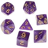 7pcs Juegos de Mesa Dados Multi Caras TRPG D4-D20 Patrón Perla con Puntitos Dorados - Púrpura