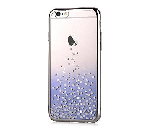 Comma cystal pois swarovski diamante decor colore sfumato custodia cover bumper, polka dot - blue gradient, iphone 6/6s