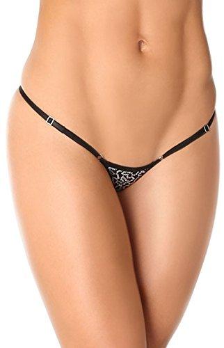 Naughty Women's Micro String Tanga Verstellbare sehr niedriger Bund für perfekte Passform Schwarz - Schwarz