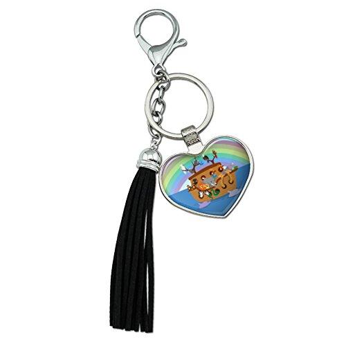 Arche Noah mit Tieren verchromtem Metall Herz Leder Quaste Schlüsselanhänger (Handtasche Metall-schlange)