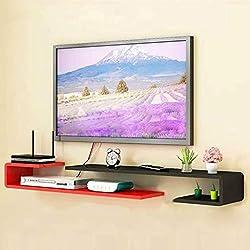 MTX Ltd Supports de Télévision Étagère Murale pour Télévision Chambre à Coucher Salon Étagère Murale Intérieur de Maison Ménage Durable, Noir Rouge, 125cm-130cm