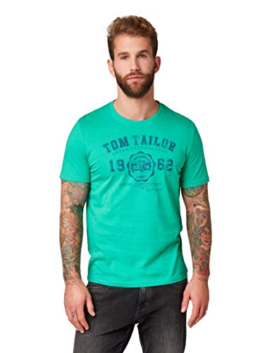 TOM TAILOR für Männer T-Shirts/Tops T-Shirt mit Logo-Print cucmber Green, XXL
