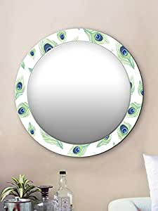 999Store Printed White Peacock Feathers Round Mirror (MDF_24X24 Inch_Multi)