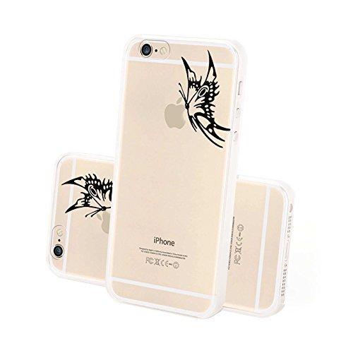 FINOO ® | Iphone 6 / 6S Plus Hardcase Handy-Hülle | Transparente Hart-Back Cover Schale mit Motiv Muster | Tasche Case mit Ultra Slim Rundum-schutz | stoßfestes dünnes Bumper Etui | Big Apple Schmetterling rechts