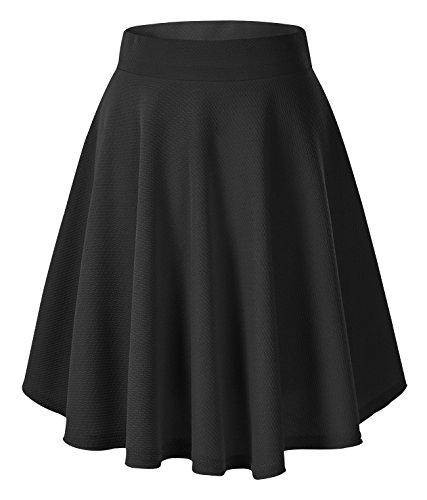Urbancoco Damen Mädchen Basic Solid vielseitige dehnbaren informell Mini Skater Rock (M, schwarz-lange) (Damen Für Business-kostüme)