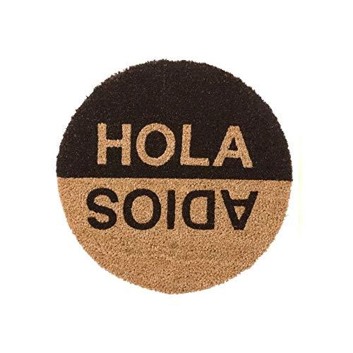 D,casa - Felpudo Hola Adios Redondo Fibra Coco 45x45