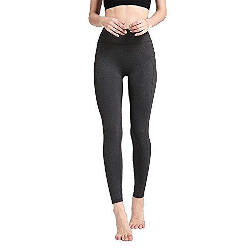 IBOWO Sport Leggings Damen Hohe Taille Yoga Hose High Waist Sporthose Fitnesshose für Damen (Grau, M)