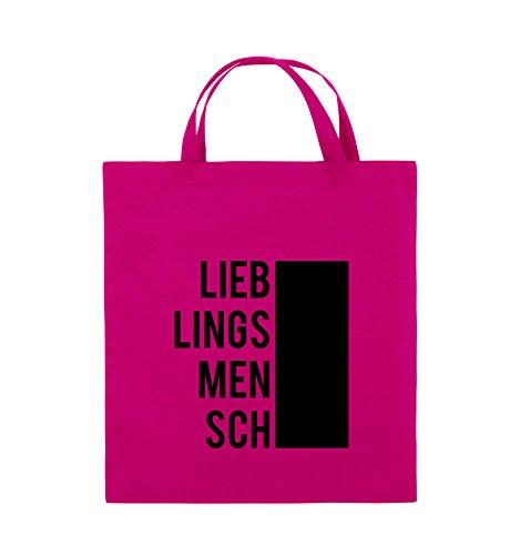 Comedy Bags - LIEBLINGSMENSCH - BLOCK - Jutebeutel - kurze Henkel - 38x42cm - Farbe: Schwarz / Weiss Pink / Schwarz