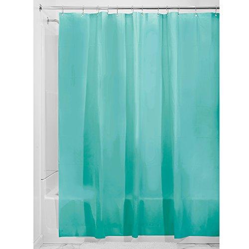 InterDesign EVA Liner Futter für Duschvorhang, 183,0 cm x 183,0 cm großer Vorhang aus schimmelresistentem EVA mit zwölf Ösen, aquamarine - Aquamarin Seife