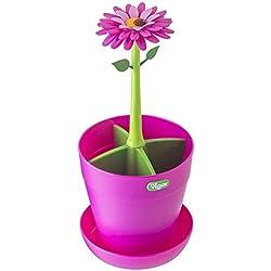 Vigar Flower Power - Escurrecubiertos, color rosa y verde