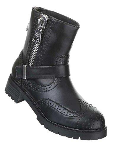 Stiefeletten Rocker Biker Damen Schuhe Boots Warm gefüttert Schwarz 36 37 38 39 40 41 Nr 2 Schwarz