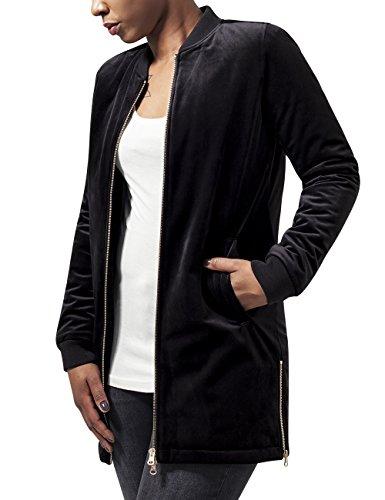 Urban Classics Damen Jacke Ladies Long Velvet Jacket, Schwarz (Black 7), 38 (Herstellergröße: M)