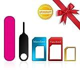 SIM Karten Adapter, BKING-BOX 5 in 1 Nano Micro Standard SIM Karten Card Adapter Set Kit Converter mit Sander Bar und Fach öffnen Nadel für Smartphones