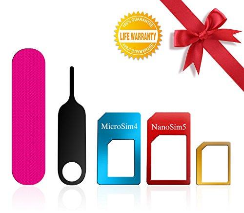 SIM Karten Adapter, BKING-BOX 5 in 1 Nano Micro Standard SIM Karten Card Adapter Set Kit Converter mit Sander Bar und Fach öffnen Nadel für Smartphones (Sim-karte Werkzeug Iphone 5)