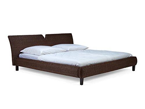 massivum Bett Dakota 180x200cm Rattan braun lackiert